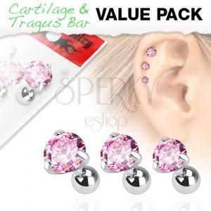 Szett sebészeti acélból, három piercing rózsaszín cirkóniával