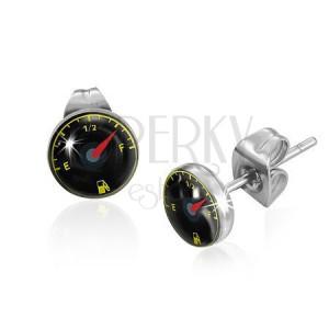 Bedugós fülbevaló acélból, fekete üzemanyag-mérő mutatóval
