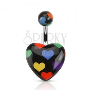 Acél piercing köldökbe, fekete szív színes szívekkel