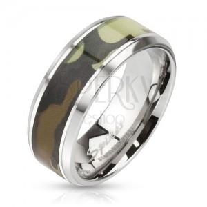 Ezüst színű acél karikagyűrű, katonai minta