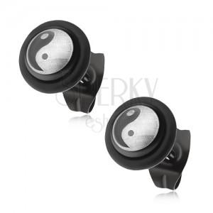 Fekete bedugós fülbevaló acélból, Ying-Yang szimbólum