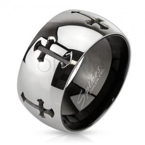 Gyűrű acélból kivágott keresztekkel, tükörfényes felület