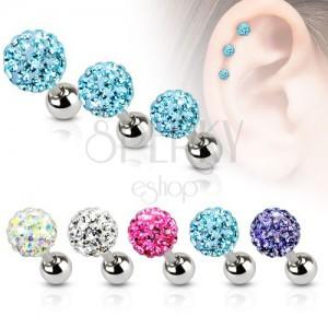 Acél piercing fülbe, színes cirkóniás golyó, 5 mm