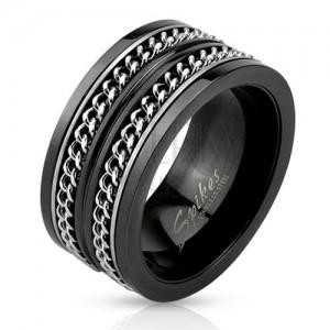 Fekete acél karikagyűrű, két ezüst színű lánc
