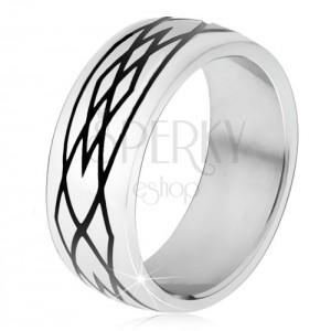Gyűrű 316L acélból, tükörfényes felület, fekete minta