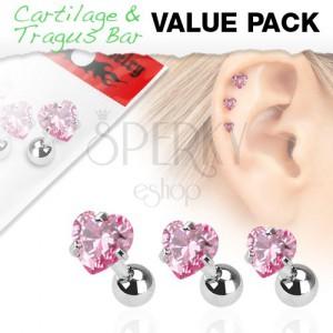 Szett három acél piercingből fülbe, rózsaszín szívecskés cirkónia