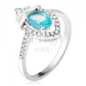 Gyűrű 925 ezüstből, azúr, ovális kő, cirkóniás könnycsepp
