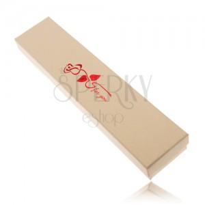 Ajándék doboz nyakláncra krém színben, piros rózsa, for you
