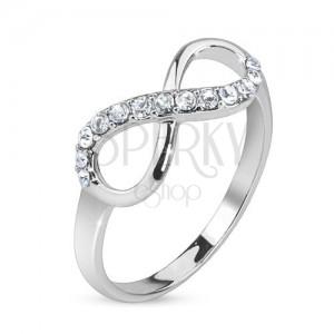 Ezüst gyűrű, végtelen szimbólum átlátszó kövekkel díszítve