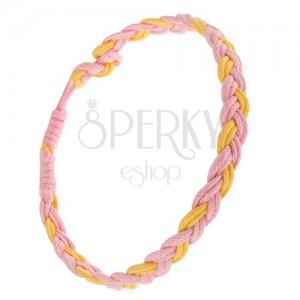 Rózsaszín-sárga fonott karkötő kettős madzagokból