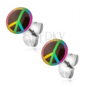 Bedugós fülbevaló acélból, szivárvány színű béke jel