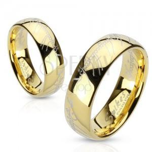 Acél gyűrű arany színben, Lord of the Rings szöveg