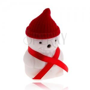 Ajándékdoboz gyűrűre, hóember piros sapkával