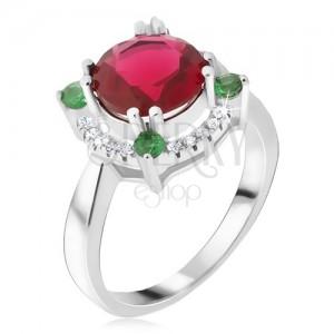 Gyűrű 925 ezüstből, cirkóniás kör, piros kő