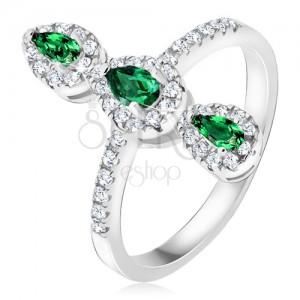 Gyűrű 925 ezüstből, három zöld könnycsepp alakú kő, cikróniás keret