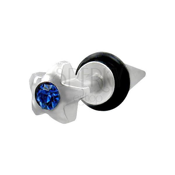 Hamis fültágító - fényes csillag kék cirkonkővel
