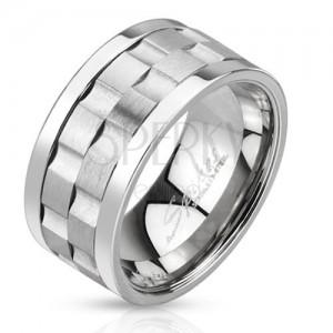 Acél gyűrű - két, matt forgatható karika bemélyedésekkel