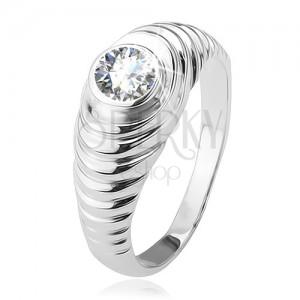 Gyűrű, lépcsőzetes szárak, átlátszó cirkónia, 925 ezüstből