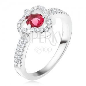 Gyűrű 925 ezüstből, piros kő, átlátszó cirkóniás háromszög