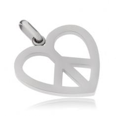 Acél medál, Peace szimbólum szívkörvonallal