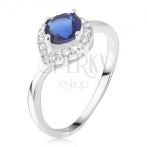 Gyűrű - 925 ezüst, sötétkék kő, cikróniás csepp