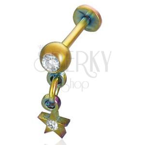 Áll piercing - anodizált, csillag medál