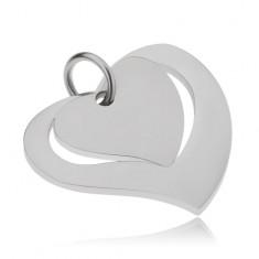 Kétrészes acél medál, fényes szív kontúr és matt szív