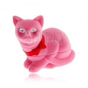 Bársony doboz fülbevalóra, rózsaszín macska masnival