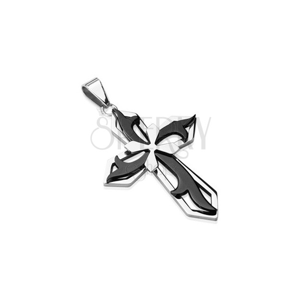 Medál sebészeti acélból - kereszt fekete és ezüst szín kombinációjában
