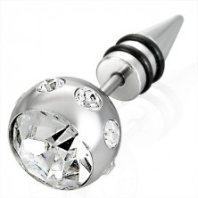 Hamis piercing ezüst színben - nagy golyó cirkóniával, egy csúcs két fekete gumigyűrűvel