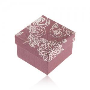 Csillogó, lila doboz gyűrűre, ezüst színű virág illusztráció