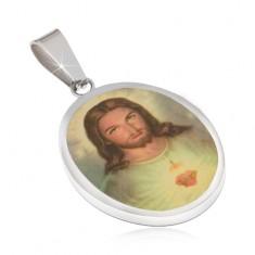 Ovális, acél  medál, Jézus portré fénymázzal leöntve