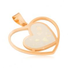 Acél medál arany színben, fehér, gyöngyházfényű szív, szívkörvonalban
