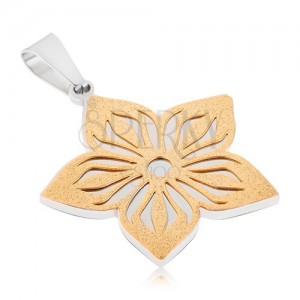 Kétszínű medál acélból - szemcsés kivágott virág