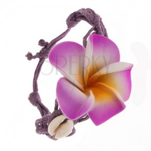Lila karkötő - fonott madzagok, virág, fényes kagylók