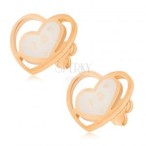 Aranyozott fülbevaló acélból, fehér, gyöngyházfényű szív, szívkörvonalban