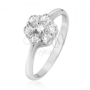 Gyűrű 925 ezüstből, virág átlátszó, kerek cirkóniákból