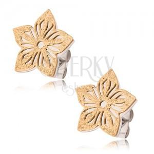 Kétszínű fülbevaló acélból, szemcsés, kivágott virág