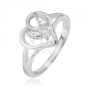 Gyűrű 925 ezüstből, kettős szárak, szív körvonal, átlátszó kövek