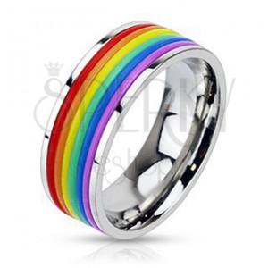 Fényes acél gyűrű gumi sávokkal szivárvány színekben