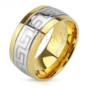 Acél gyűrű, görög kulcs minta, arany színű szegélyek