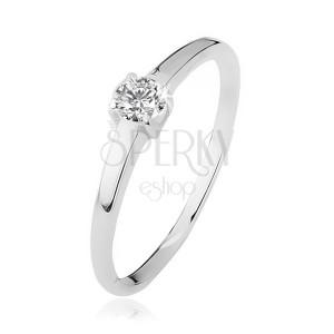 Gyűrű, átlátszó kő foglalatban, négy karommal, 925 ezüstből