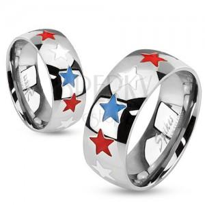 Acél gyűrű, fénymázas csillagok fehér, kék és piros színben