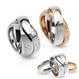 Kettős acél gyűrű, szívkörvonal, Love one another