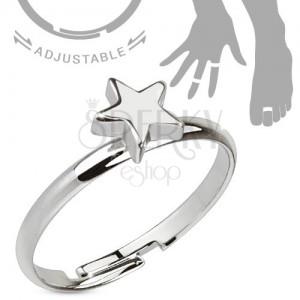 Ródiumozott, állítható ezüst színű gyűrű, fényes ötágú csillag
