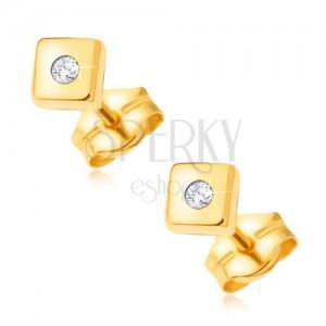 Arany csillogó fülbevaló 585 - fényes négyzetek apró átlátszó kővel a közepén