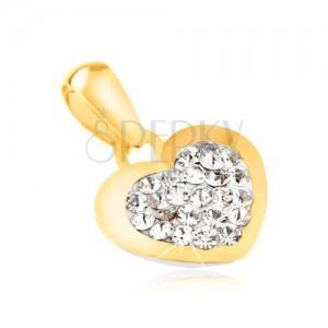 Arany medál 585 - csillogó szabályos szív, átlátszó cirkónia a közepén