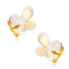 Fülbevaló 14K aranyból - kétszínű lepke kerek átlátszó cirkóniával