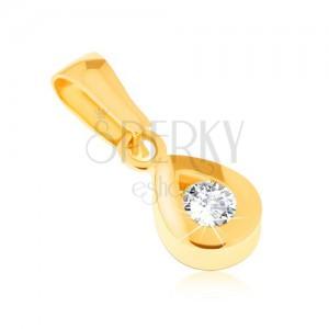 Medál 14K sárga aranyból - csillogó könnycseppkörvonal, kerek átlátszó kő