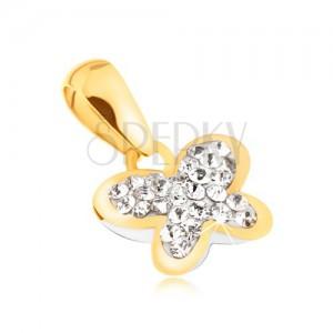 585 arany medál - lepke átlátszó kövekkel kirakva, csillogó körvonal